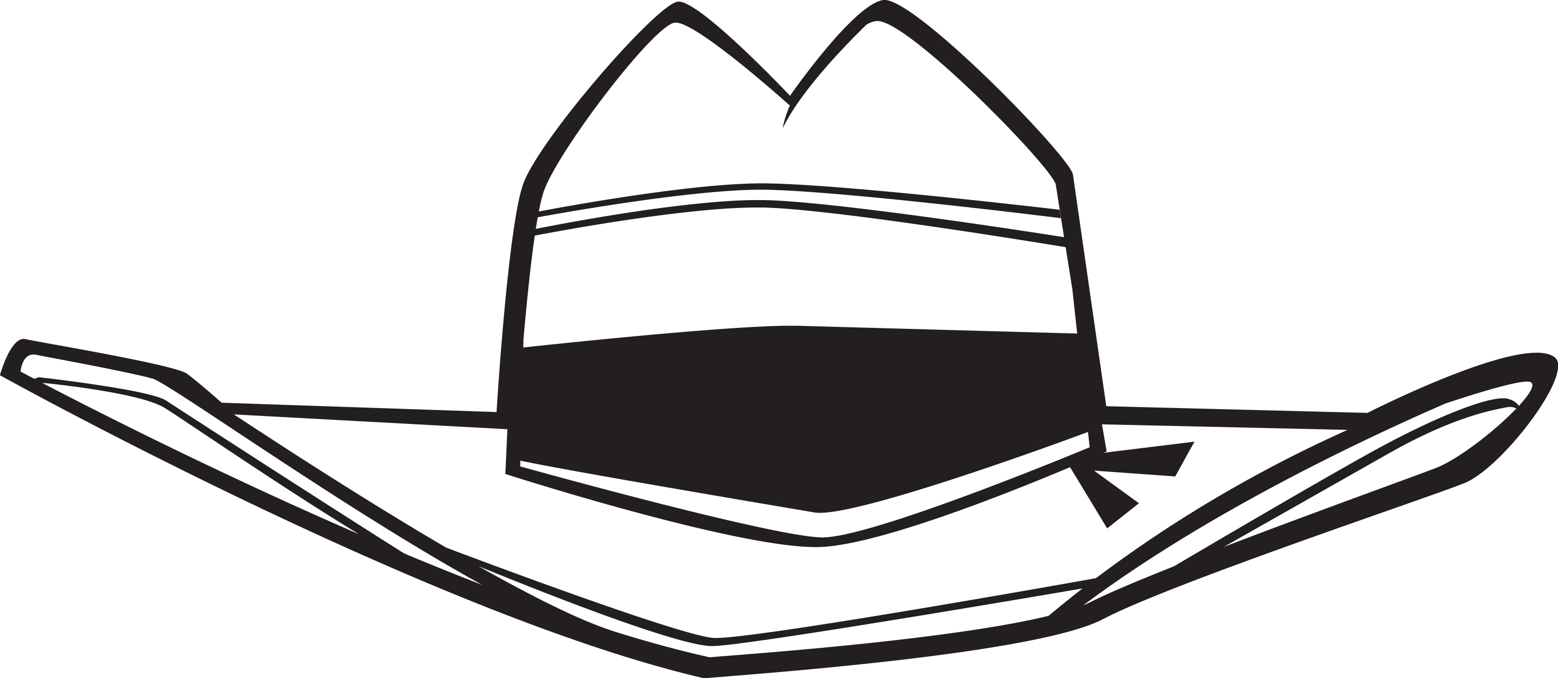 3144x1369 Straw Hat Clipart Black And White