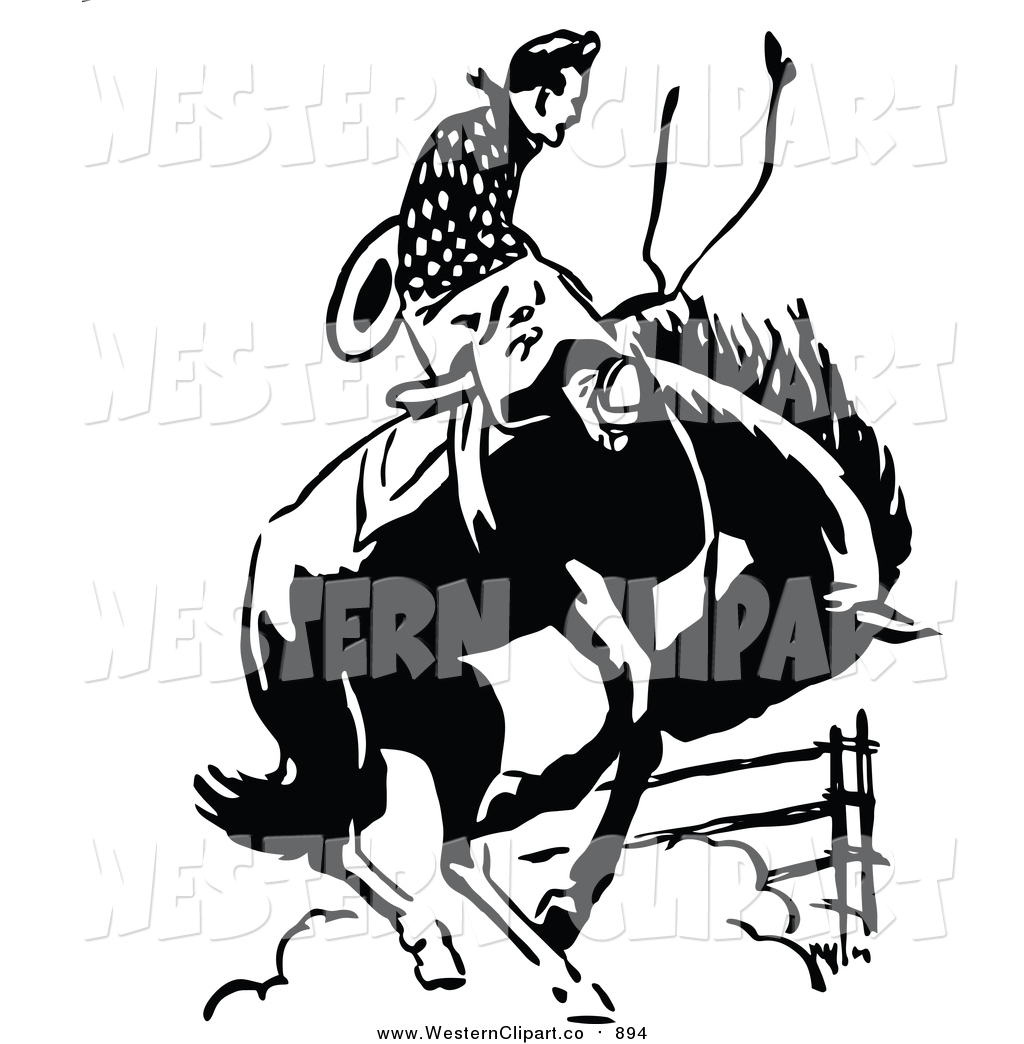 1024x1044 Vector Cliprt Of Retro Blacknd White Rodeo Cowboy On
