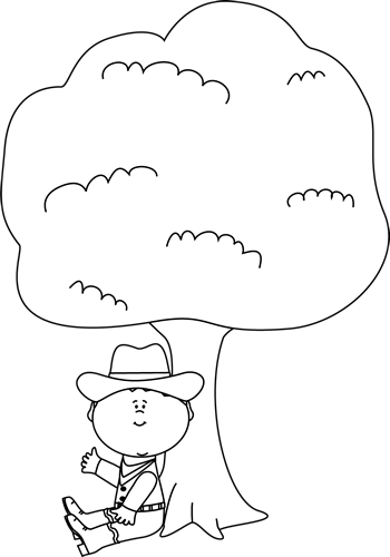 350x500 Black And White Cowboy Sitting Under A Tree Clip Art