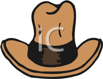 350x266 Picture Of A Brown Cowboy Hat In A Vector Clip Art Illustration