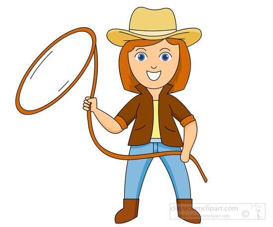 550x457 Cowboy With Lasso Clipart