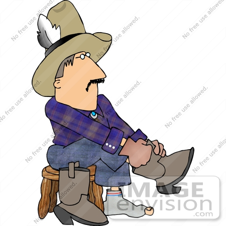 450x450 Cowboy Putting On His Boots Clipart