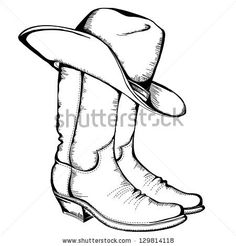 236x246 Western Black And White Clip Art Tribal Cowboy Hat And Boot