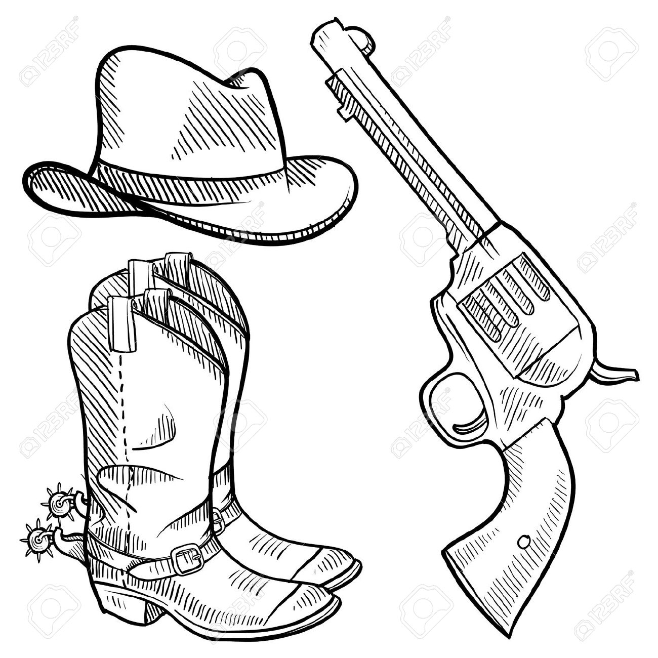 Cowboy Hat And Boots Clipart | Free download best Cowboy Hat And ...