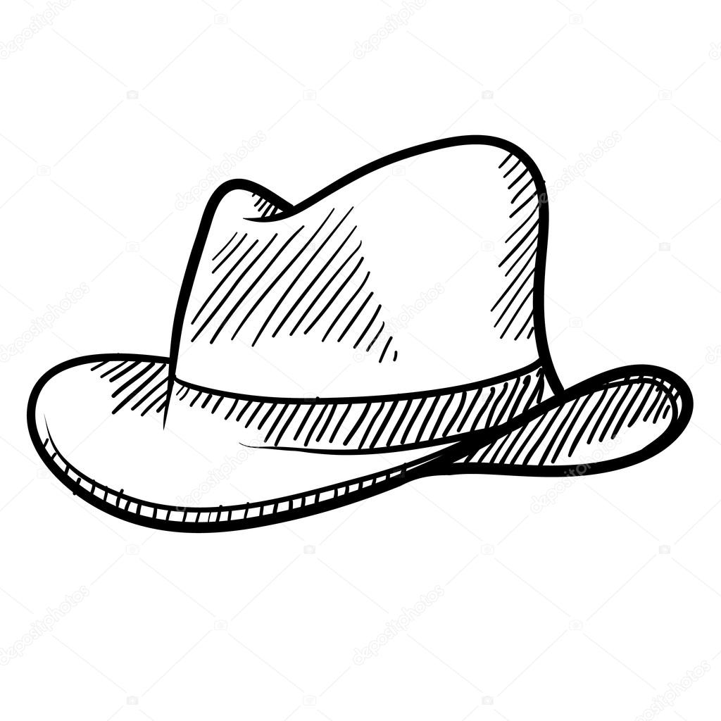 1024x1024 Cowboy Hat Or Fedora Sketch Stock Vector Lhfgraphics