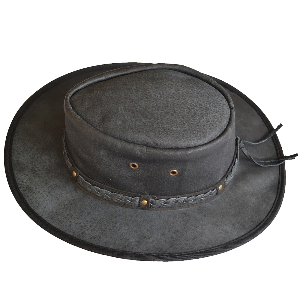 1000x1000 Cowboy Hat Flexible Brim Western Style Leather Black