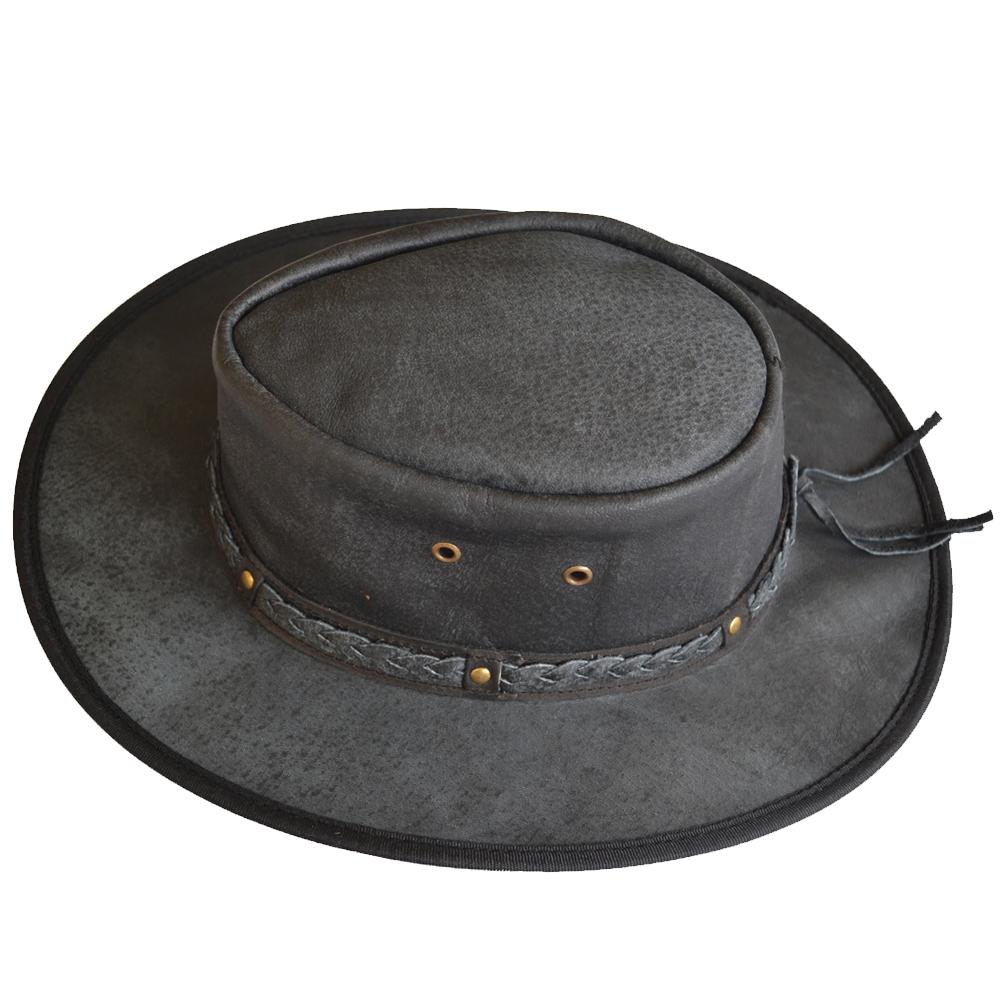 1000x1000 Cowboy Hat Flexible Brim Western Style Leather Black
