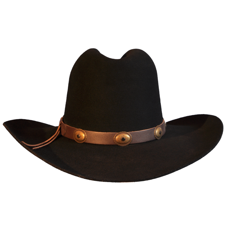 800x800 Black Wool Felt Cowboy Hat With Leather Trim Races Hats, Wedding