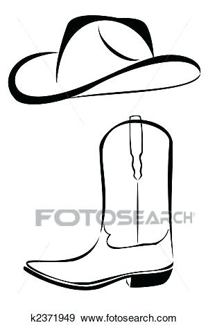 300x470 Cowboy Hat Clipart Stock Illustration Tribal Cowboy Hat And Boot