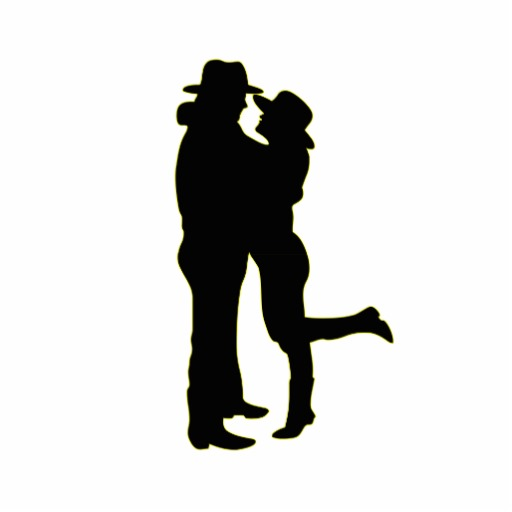 512x512 Cowboy And Cowgirl In Love Silhouette Standing Photo Sculpture