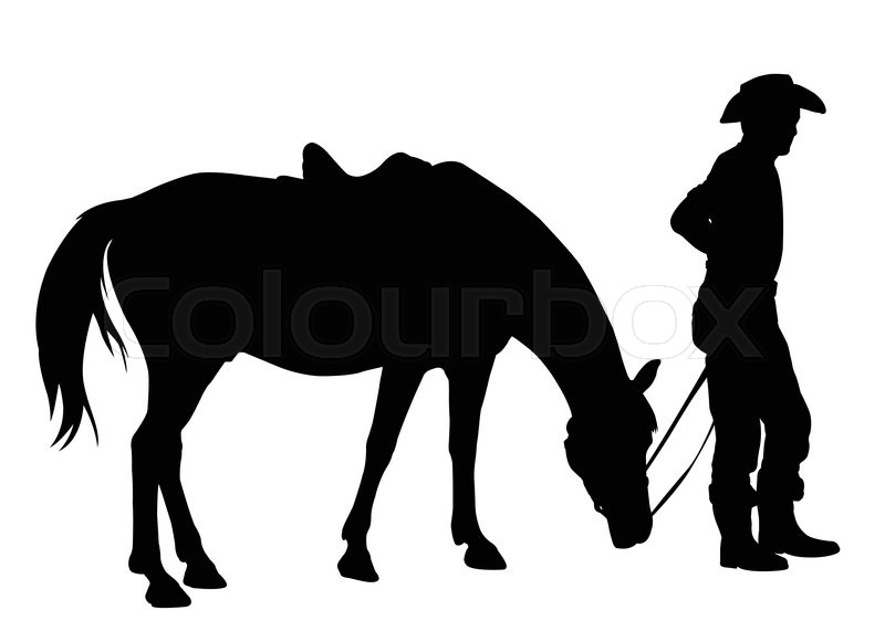 800x571 Cowboy With His Horse Silhouette
