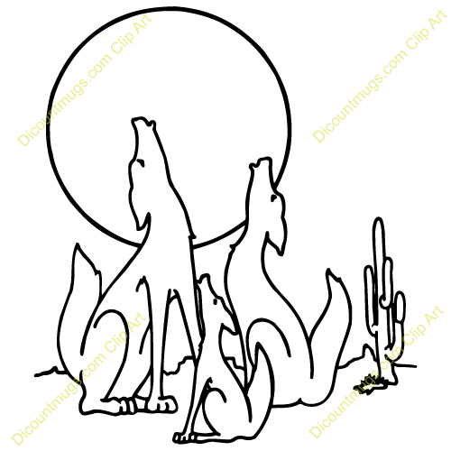 500x500 Coyote Howling Clip Art Coyotefamily Coyotes