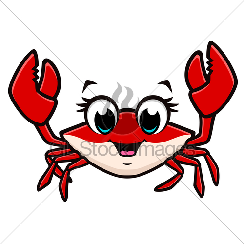 500x500 Cartoon Cute Crab Gl Stock Images