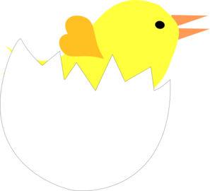 297x270 Yellow Chick In Cracked Eggshell Clip Art