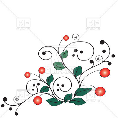 400x400 Cranberry And Curly Twigs Royalty Free Vector Clip Art Image