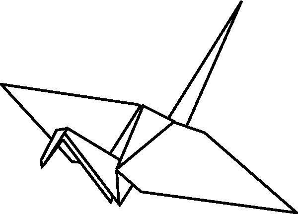 600x431 Origami Crane Clipart Paper Crane Outline Clip Art At Clker Vector