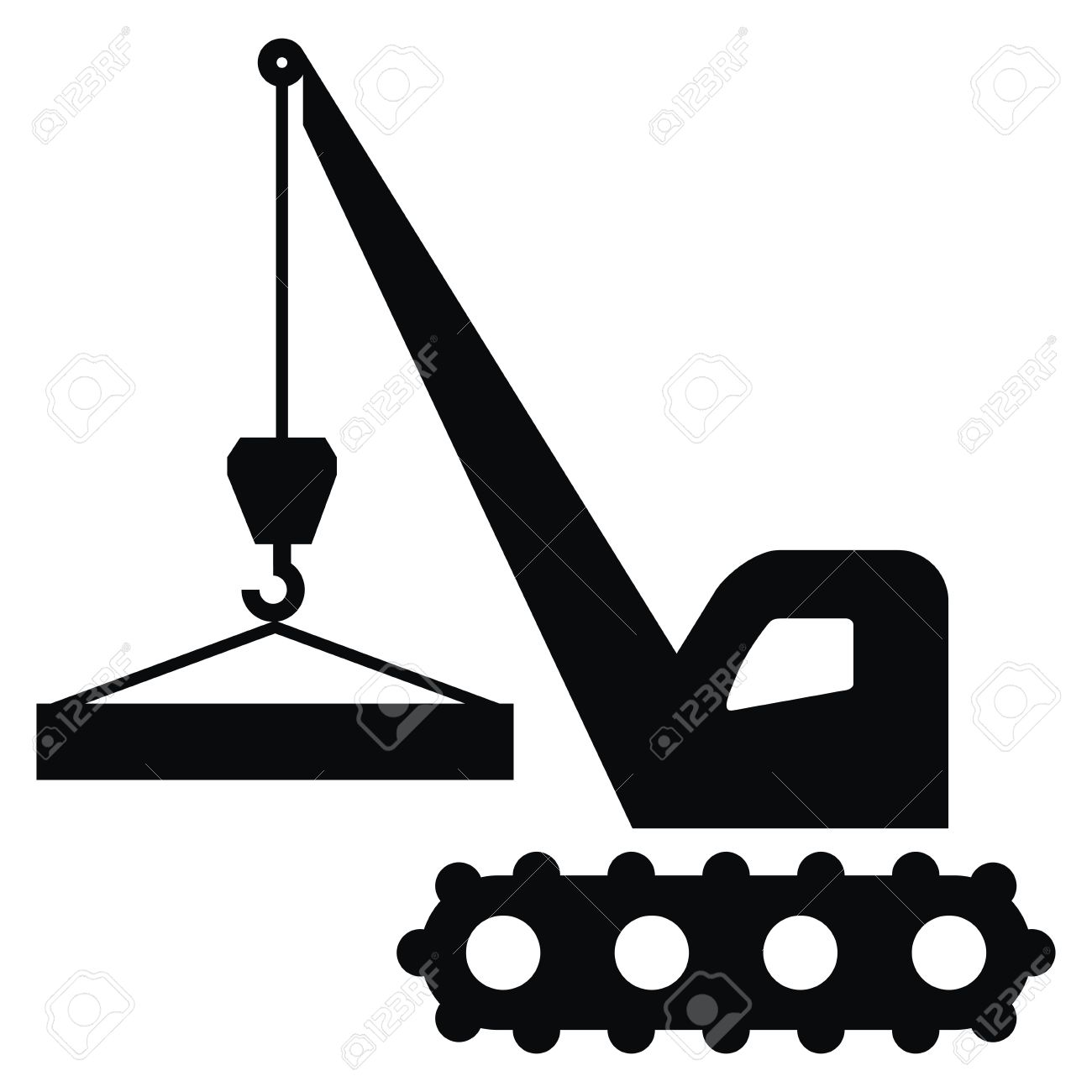 1300x1300 Crane Icon, Black Silhouette, Handling Of Load. Royalty Free