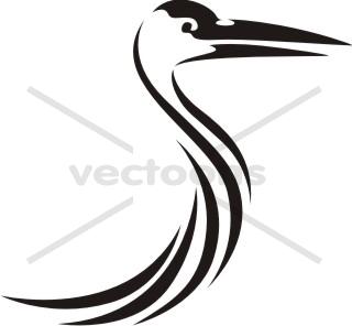 320x296 Swish Style Sandhill Crane Bird Icon Logo