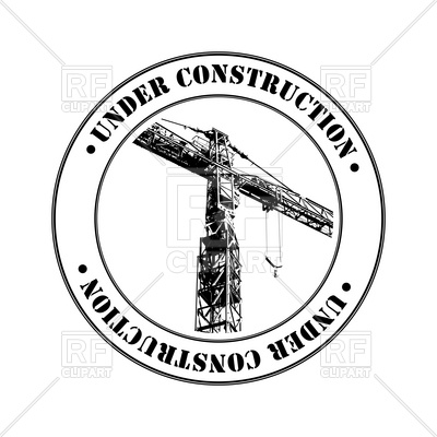 400x400 Under Construction Stamp With Tower Crane Royalty Free Vector Clip