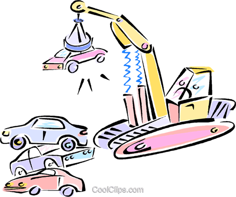 480x400 Magnetic Crane With Car In The Junk Yard Royalty Free Vector Clip
