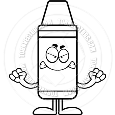 460x460 Cartoon Crayon Angry (Black And White Line Art) By Cory Thoman