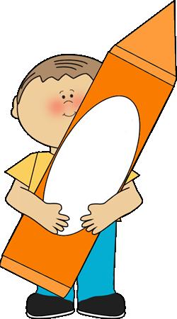 250x450 Boy With Orange Crayon Clip Art