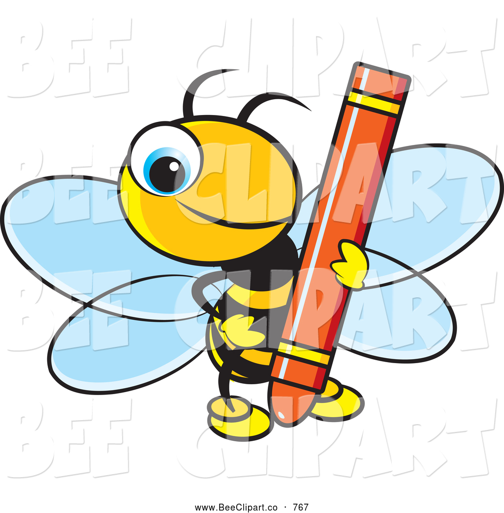 1024x1044 Vector Clip Art Of A Smiling Cute Bee Holding A Red Crayon By Lal
