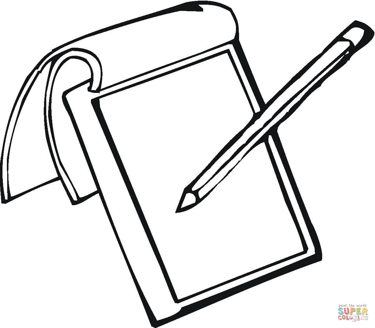 1200x1052 Notepad And Pencil Coloring Page Free Printable Coloring Pages