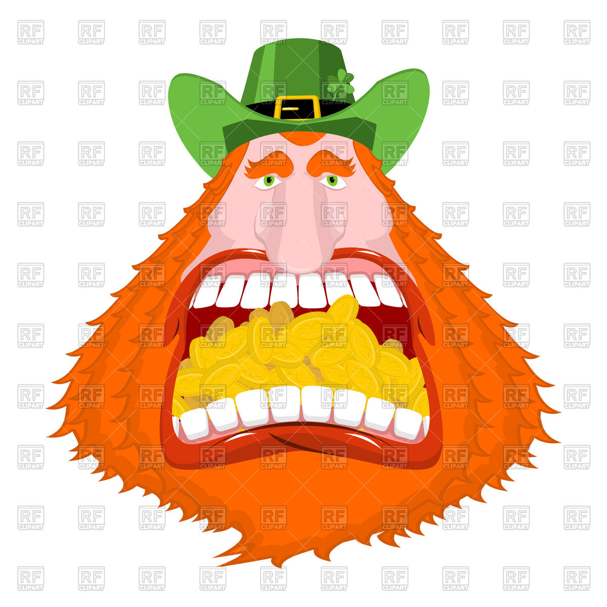 1200x1200 Leprechaun Gold In Mouth. Crazy Dwarf For St. Patrick's Day