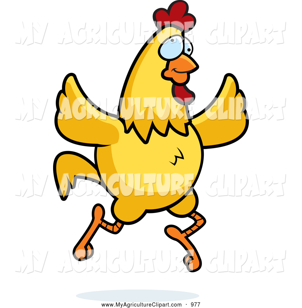 1024x1044 Vector Agriculture Clipart Of A Cute Crazy Yellow Chicken Running