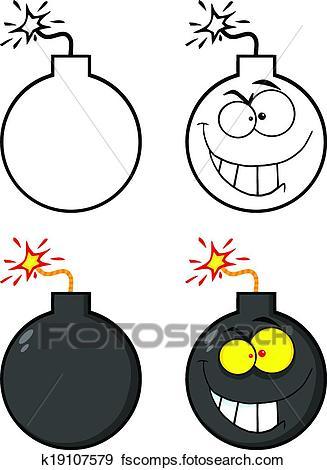 327x470 Clip Art Of Crazy Evil Bomb Cartoon Character K19107579