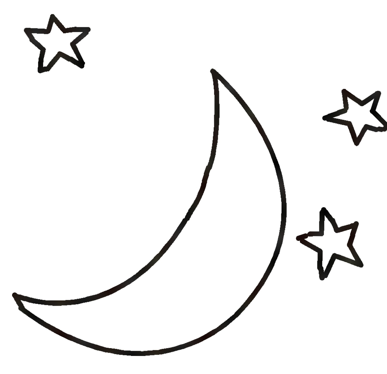 Crescent Moon Clipart Black And White