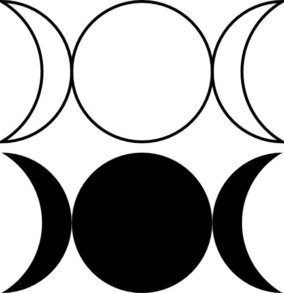 576x595 Triple Goddess Symbol (Waxing Crescent, Full Moon, Waning Crescent