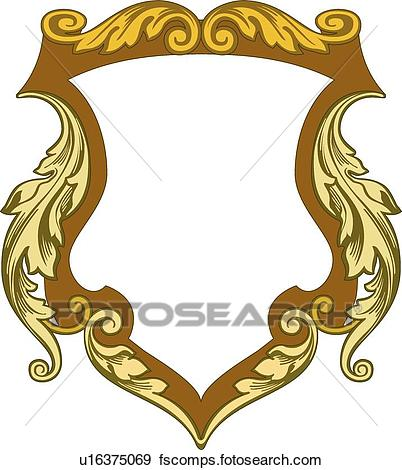 402x470 Clip Art Of Brown Crest With Leaf Decoration U16375069