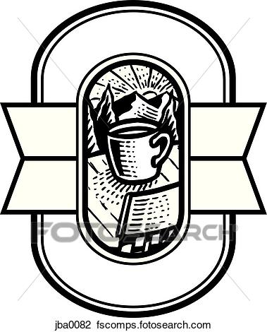 379x470 Clip Art Of Coffee In The Mountains Crest Bampw Jba0082