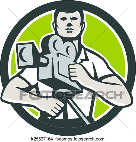 450x470 Clipart Of Cameraman Film Crew Hd Camera Video Front Retro