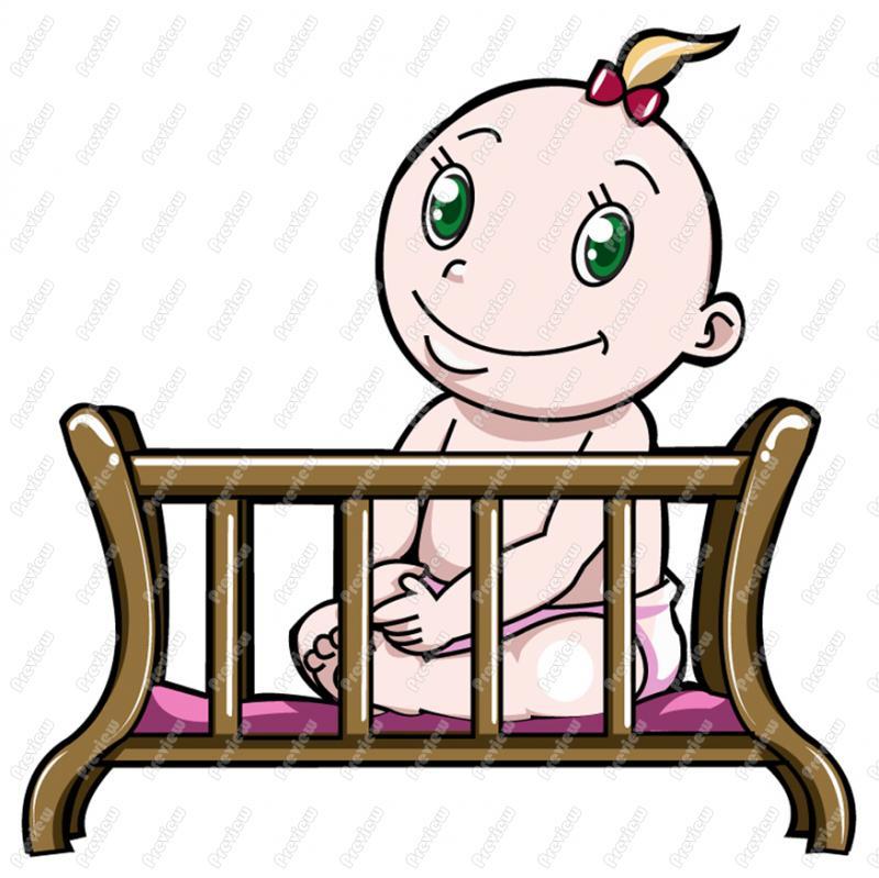 800x799 Baby Girl In Crib Clip Art