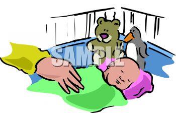350x224 Baby Sleeping In Crib Clipart