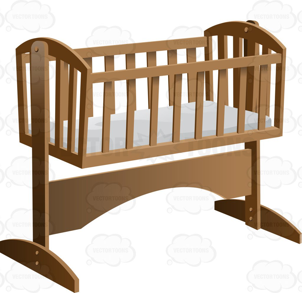 1024x991 An Old Fashioned Rocking Baby Crib With Mattress Cartoon Clipart