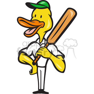 300x300 Royalty Free duck cricket bat standing 388216 vector clip art
