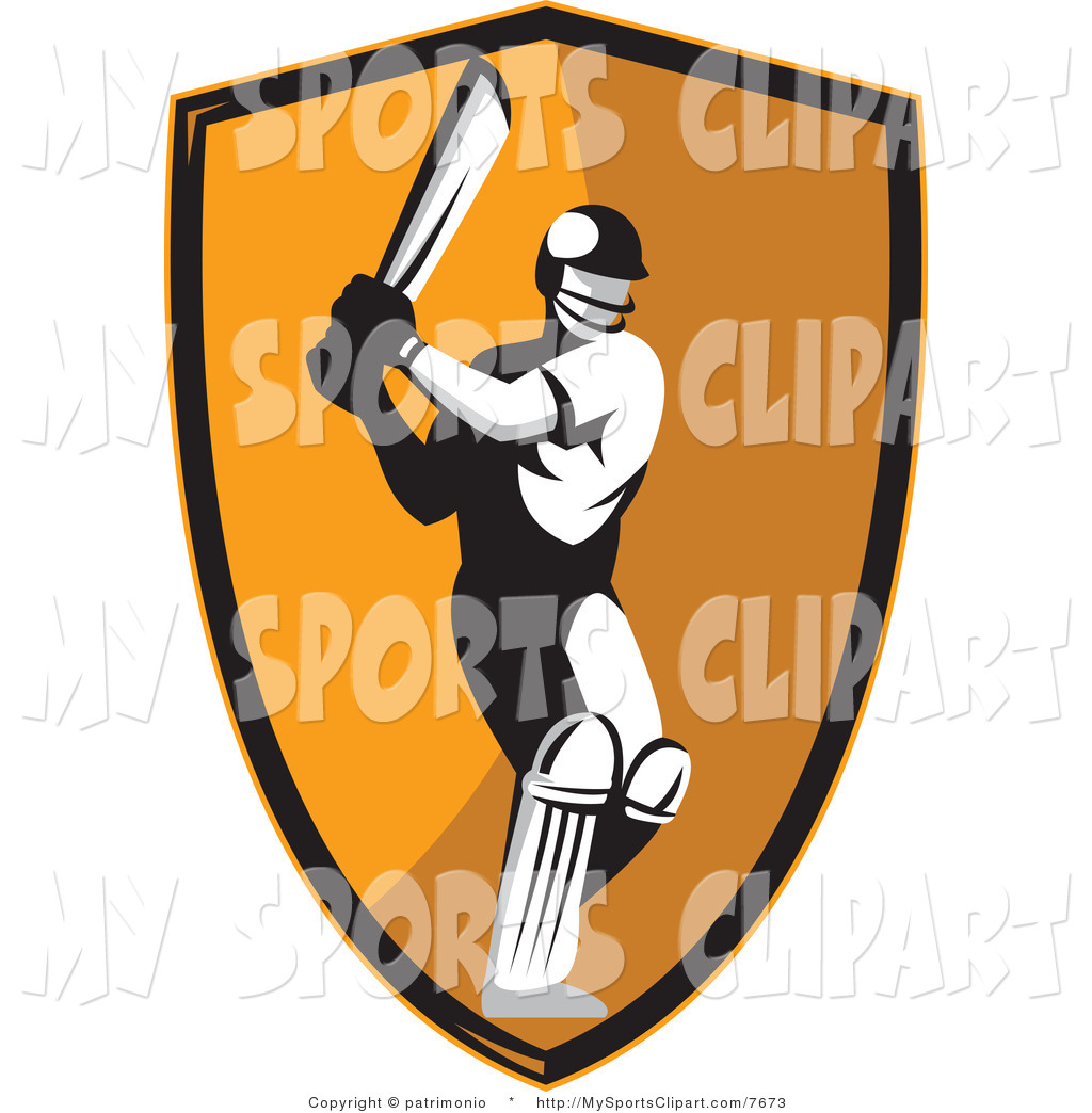 1024x1044 Sports Clip Art of a Cricket Batsman over an Orange Background by