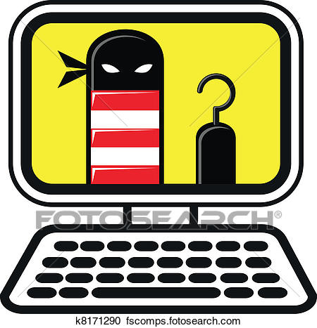 450x467 Clipart Of Cyber Crime K8171290