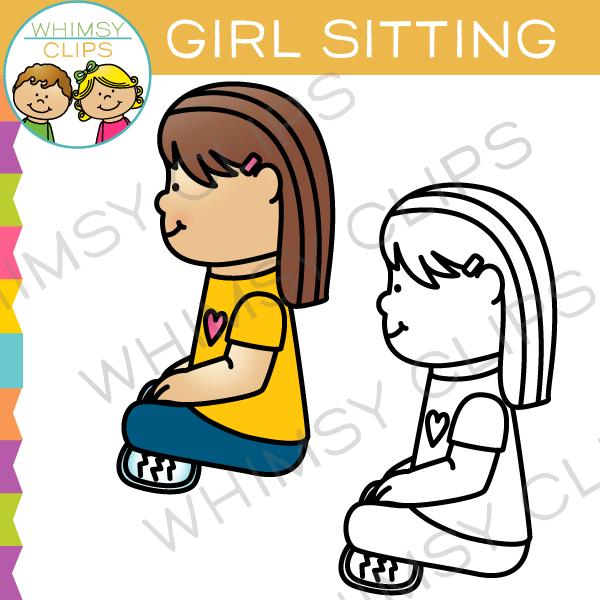 600x600 Clipart Of Girl Sitting Crisscross
