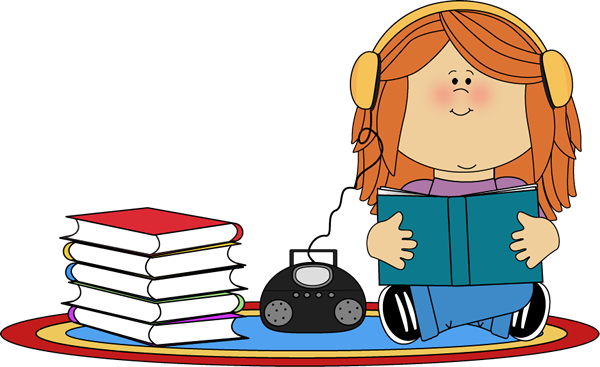 600x367 Girl Listening To Book On Cd Player Clip Art