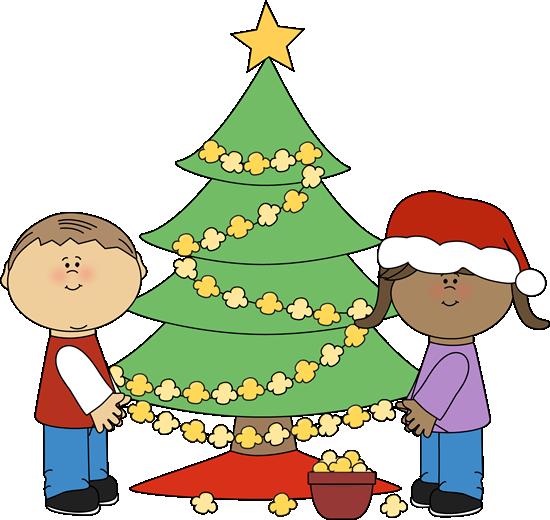 550x520 Kids Stringing Popcorn On Christmas Tree Clip Art Winter