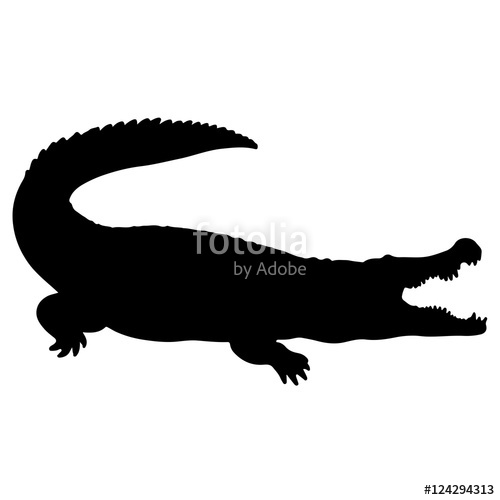 500x500 Crocodile Or Caiman. Black Vector Silhouette Of An Alligator
