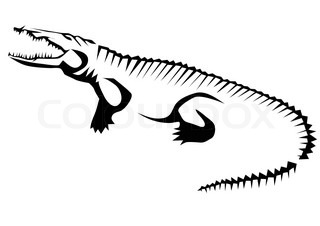320x226 Gray Crocodile On White Background, Vector Illustration Stock