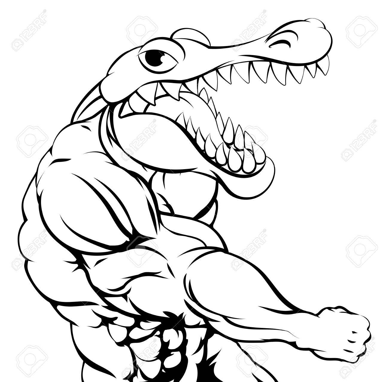 1300x1278 Alligator Or Crocodile Mascot Punching At The Viewer With Fist