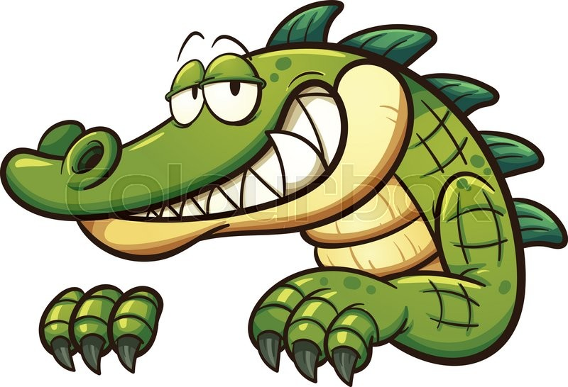 800x546 Cartoon crocodile. Vector clip art illustration with simple
