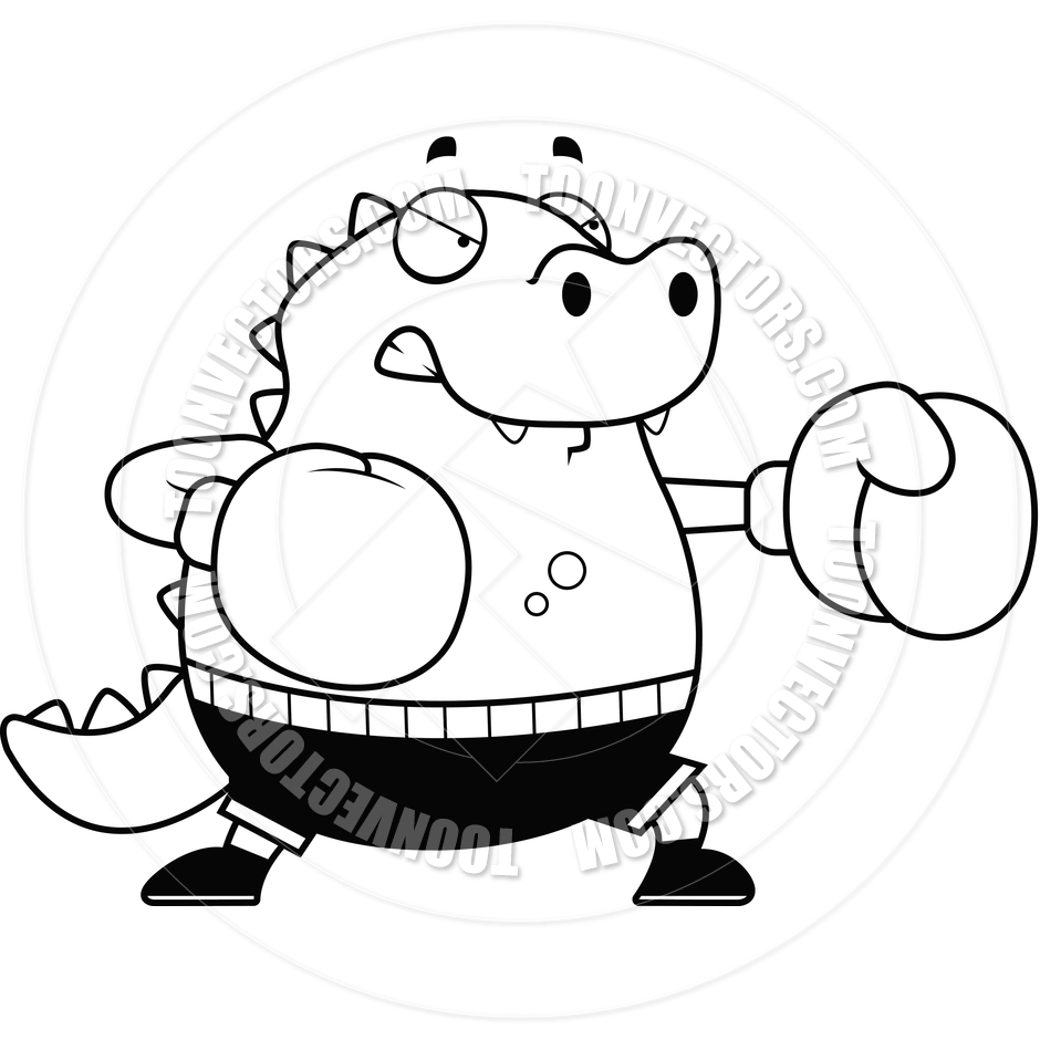 940x940 Cartoon Lizard Boxing (Black And White Line Art) By Cory Thoman